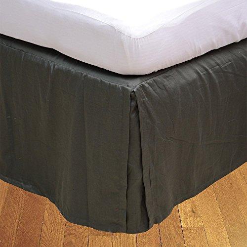Living & Co 1 jupe de lit plissée (gris éléphant), longueur : 41 cm, 100 % coton égyptien véritable de qualité supérieure, 300 fils au pouce carré.