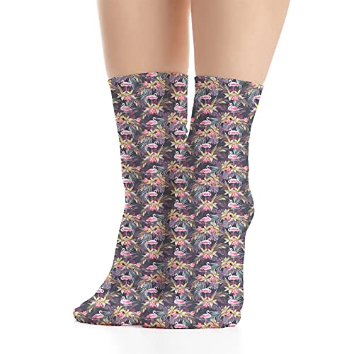 Unisex Funny Colorful Dress Socks Patterned Crazy Design Socks,Tropical Summer Themed Pattern with Exotic Leaves Flowers and Flamingo Bird Print