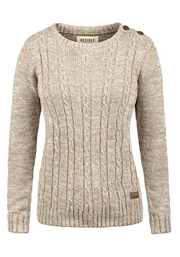 DESIRES Phia Damen Winter Strickpullover Troyer Grobstrick Pullover, Größe:M, Farbe:Dune (5409)