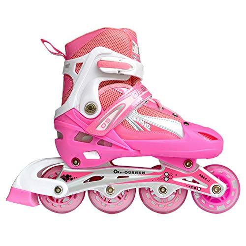 GUOCU Pattini in Linea Regolabili, Ruote Illumina LED, Divertente Inline Skates per Ragazzi, Ragazze e Giovani,Rosa,L (2 Flash Wheels)