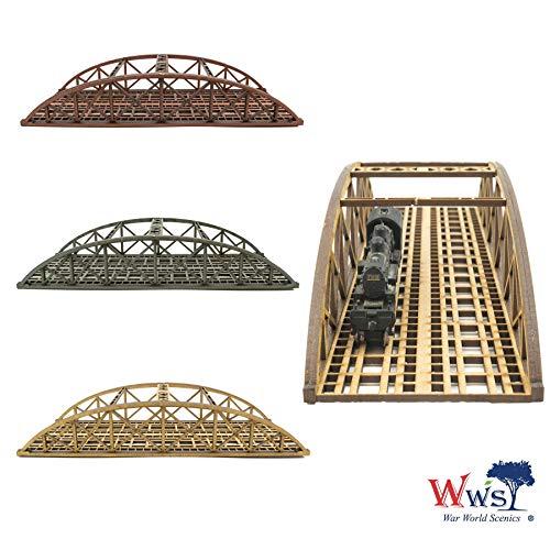 War World Scenics Zweispurige Spur N Stabbogenbrücke 200mm (Farbe wählen) - Modellbahn Modellbau Modelleisenbahn Modell Diorama Layout Brücke Eisenbahn