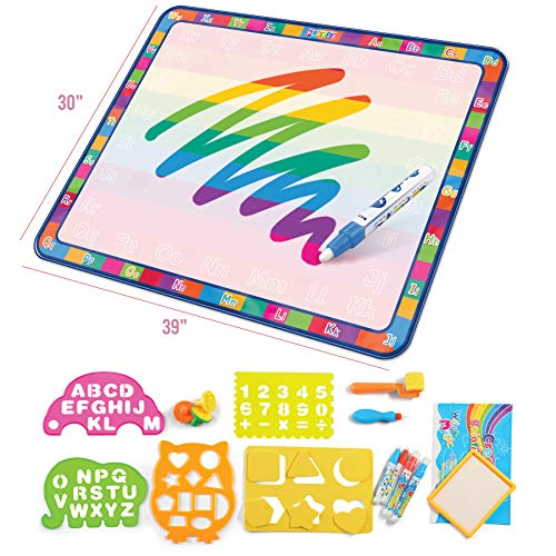 Play22 Large Magic Water Doodle Mat 22 PCS 39X30 - STEM Educational Learning ABC Letters Kids Drawing Board - Extra Large Water Drawing Doodling Mat Mess for Kids Toddlers Boys and Girls