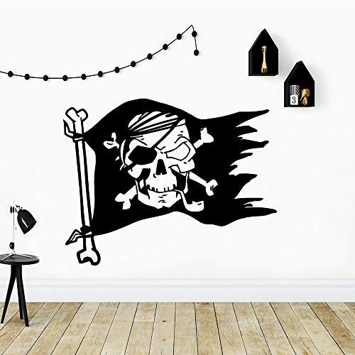 BFMBCH Piratenflagge Wandaufkleber Tapete Dekoration Wandaufkleber Für Hauptdekoration Wohnzimmer Schlafzimmer Vinyl Kunst Wandaufkleber Gold L...