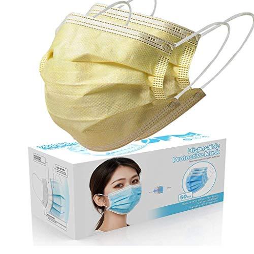 50 Stück Gelb Einmal-Mundschutz, Staubs-chutz Atmungsaktive Mundbedeckung, Erwachsene, Bandana Face-Mouth Cover Sommerschal (c)