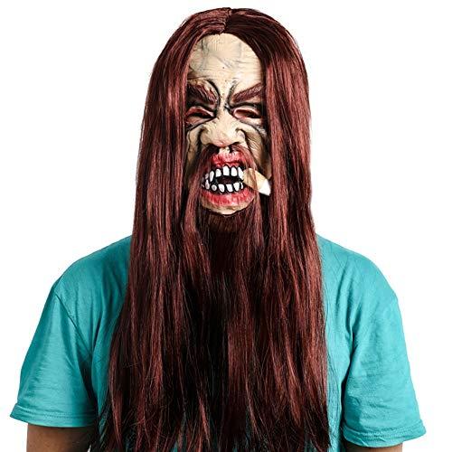 Halloween masker, Enge Roker Met Lang Haar Monster Halloween Fancy Dress volwassenen kostuum Play High Quality Maskers