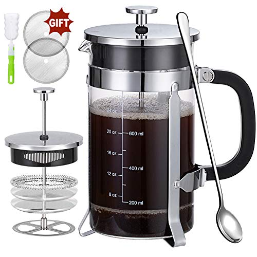 Buy French Press Coffee Maker with 4 Filters, Durable 304 Grade Stainless Steel Heat Resistant Borosilicate Glass Tea Maker (8 cups, 34 oz),Silver