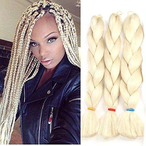 Jumbo Braids Colorful Synthetic Kanekalon Hair Extensions for DIY Crochet Box Braiding Blond 3Pcs 100g/Pcs 24Inches