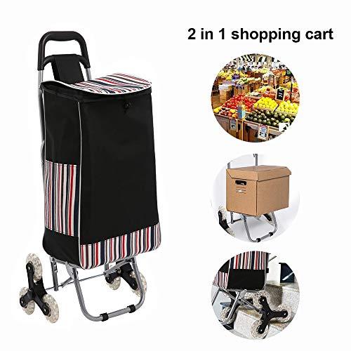 Oliote Einkaufswagen Einkaufstrolley Treppensteigerfunktion mit Tri-Wheel-Design und 32 Liter Tasche Klappbar bis 30 kg Belastbar