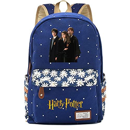NYLY Mochila Avatar de Harry Potter,Joven Estudiante Bolsa para la Escuela, niña Flores Backpack Bolsa para portátil Unisexo (Estilo A)