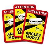 Attention Angles Morts Aufkleber je 25x17cm für Fahrzeuge Pflicht ab 3,5 t in Frankreich Warnung Toter Winkel Sticker selbstklebend uv beständig wetterfest R145 (Wohnmobil, 3 Stück)