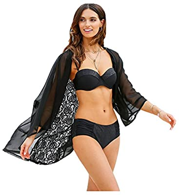 Wander Agio Bikini Coverup Swimsuit Coverups Sunscreen Beach Cover Up for Women Flower Lace Black