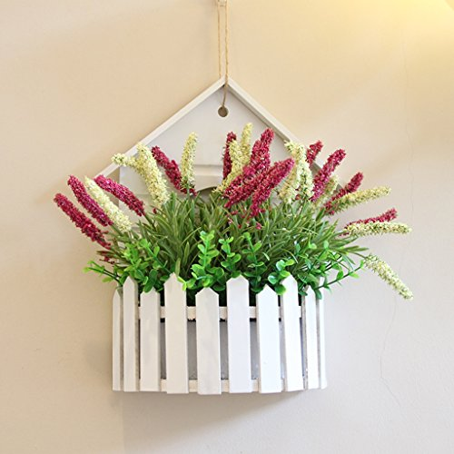 WXL Gefälschte Blume Haus-Simulation-Blume, weißer Zaun-Korb-Restaurant-Büro-Simulations-Blume, Schlafzimmer Blume (Color : Red)