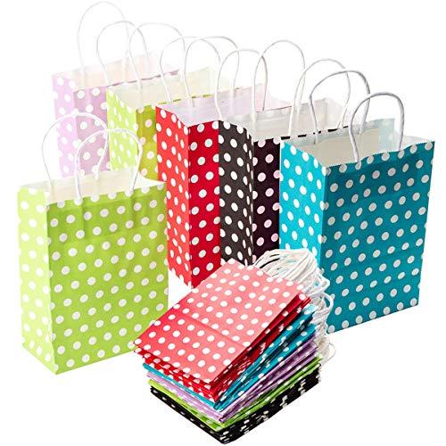 Mengger Geschenktüten Papier Geschenktaschen Präsenttüten Papiertüten Papiertaschen Tragetaschen 25 pcs Papiertüte Tüten mit Griff Kordel Kraftpapier für Kinder Geburtstagsparty Weihnachten Hochzeit