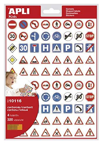 Apli 10116 - Pochette de 320 gommettes code de la route - 40 panneaux différents