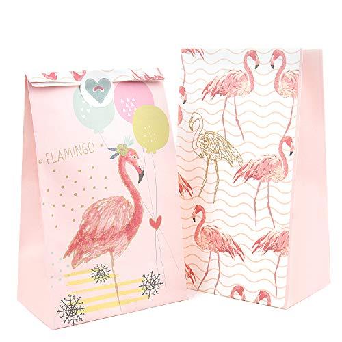 Vordas Welecoco 24 Papier Candy Tüten Partytüten Set, Geschenktüten mit 24 Aufkleber, Tüten Kindergeburtstag Papier, Papiertüten für Partys und Geschenke, Flamingo-Papiertüte(21x12x8 cm)