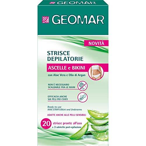 Geomar Strisce Depilatorie Ascelle e Bikini con Aloe Vera e Argan 20 Pezzi + 3 salviette, Giallo, L