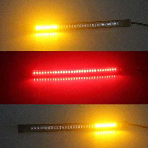 Feu arrière universel 48 LED pour moto, feu stop, clignotant, plaque d'immatriculation, bande lumineuse flexible et flexible