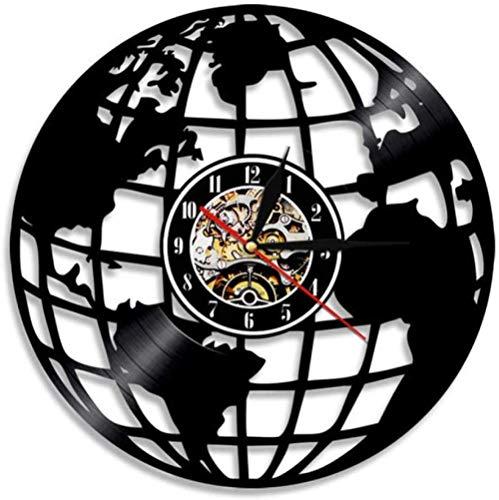 KDBWYC Reloj de Pared con Registro de música de Vinilo, Hecho a Mano, Silueta Vintage, Mapa del Mundo, Reloj de Vinilo, decoración Interior, Reloj artístico