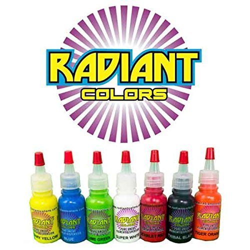 Tattoo Ink Radiant Colors 7 Color 1/2oz Primary Set - Made in The...