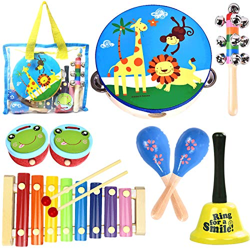 oathx Toddler Musical Instruments Baby Musical Toys for Kids 1 2 3 4 Children Wooden Percussion Set Boys Girls Music Gift Educational Rhythm Kit Tambourine Xylophone