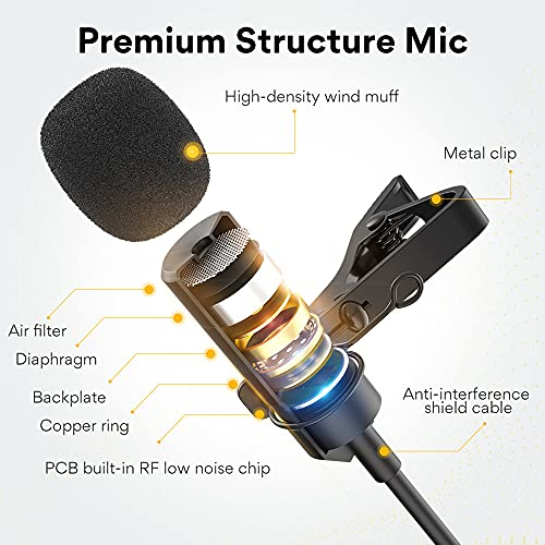 Maono AU-UL10 USB Collar Microphone, Condenser Generic Lavalier Mic for PC, Mobile, YouTube Recording, Singing