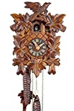 Watch Park Eble 11311 - Orologio a cucù originale della Foresta nera, in legno, con meccanismo meccanico di carica per 1-giorno con certificato VdS, modello a cinque foglie da 23cm