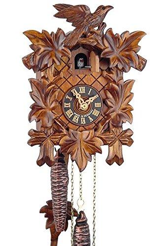 Eble Reloj de cuco original de la Selva Negra, reloj de cuco de madera auténtica, mecanismo mecánico de 1 día, certificado VDs, cinco hojas de 23 cm, 11311