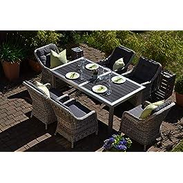 Bomey Stockholm Salon de jardin en acier inoxydable avec 6 fauteuils en rotin gris et coussins gris I Table rétractable…