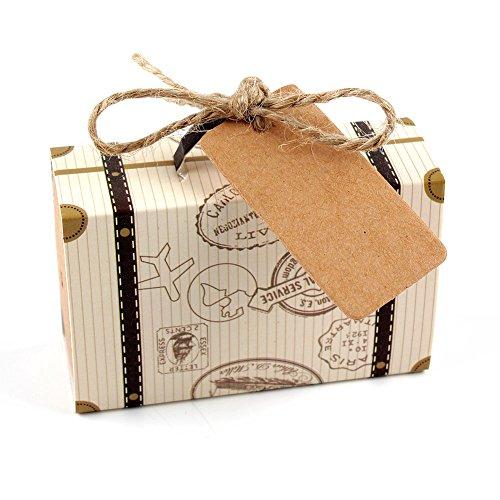 SODIAL 50 piezas de Mini Caja de dulces emn forma de Maleta de Kraft Cajas de regalo de boda Caja de Fiesta tematica de viaje para Fiesta de nacimiento de cumpleanos de aniversario
