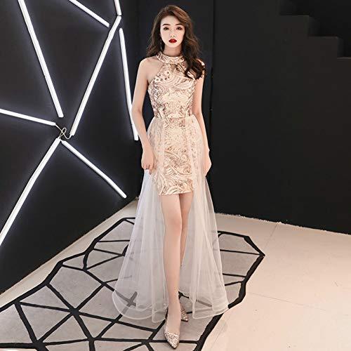 BINGQZ Party Jurk/prinses gouden kant bloem avondjurk vintage halter mouwloos kralen sparky goud avondjurk kleine zwarte jurk