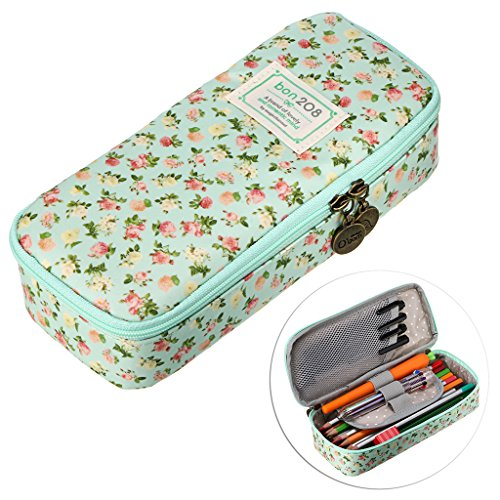 BTSKY Cute Pencil Case - High Capacity Floral Pencil Pouch Stationery Organizer Multifunction Cosmetic Makeup Bag, Perfect Holder for Pencils and Pens (Light Blue)