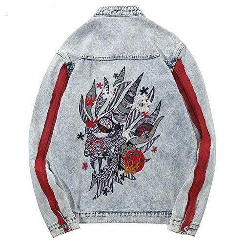 Harajuku Stickerei Dragon Jacke Jeans Streetwear Hip Hop Männer Vintage Gewaschene Jeansjacke Herbst rot gestreifte Jeansjacken