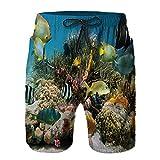 QUKEFU Bañador de Hombre,Colorida Colonia de Coral en el Arrecife Cardumen de Peces Tropicales Imagen del mar Caribe,Natación Secado Rápido Pantalones Cortos Shorts de Playa para Swim 4XL