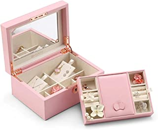 Vlando Retro Lockable Jewelry Box Organizer with Large Mirrored and Key, Microfiber PU Leather Case for Women Girls Necklaces Earrings Rings Watches Display Storage, Gift Packing, Pink