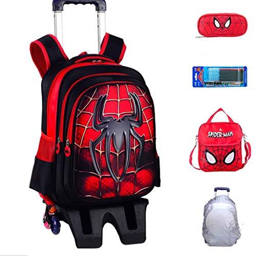 YeMao Zaino con Ruote per Bambini Super Hero, Borse da Scuola per Studenti elementari 6 Ruote per Ragazzi Carrello da Viaggio con Ruote,Spiderman-42 * 32 * 22CM