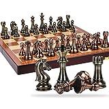 Juegos Tradicionales Ajedrez Piezas de ajedrez de aleación de Zinc clásico Juego de ajedrez de ajedrez de Madera con Rey Altura 11 cm Juego de ajedrez Exteriores Juegos de Mesa AJ