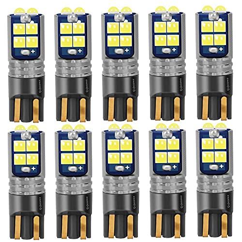 10 unids T10 W5W 168 WY5W Super Super LED Bulbos LED Auto Interior Lectura Lámpara de cúpula Cuña Aparcamiento Luces Artículos de automóviles Blanco Red Amber (Color : Crystal Blue)