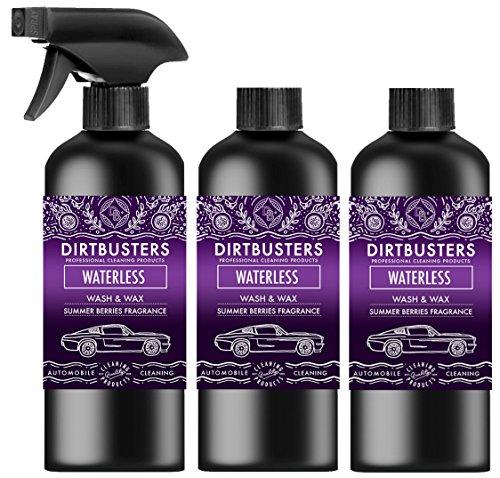 Dirtbusters Waterless Wash & Wax Autopflegemittel/Reiniger, ohne Wasser, zum Waschen und Wachsen, Kirschduft, 3x500ml (1Sprühflasche + 2 Nachfüllpackungen)