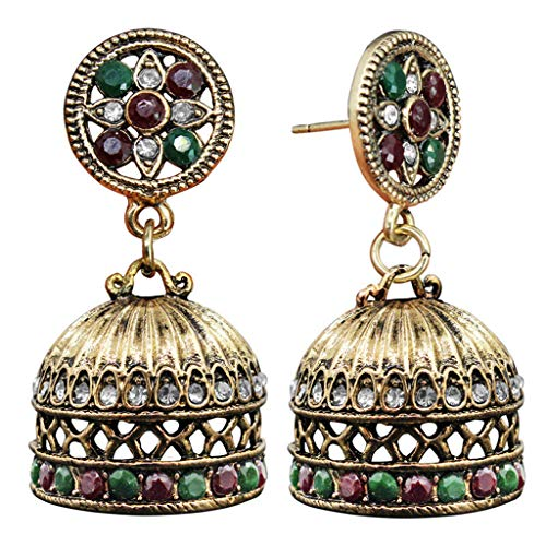 niumanery Ethnic Bali Jhumka Jhumki Brocade Crystals Mexico Gypsy Dangle Earrings Jewelry