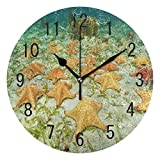 壁掛け時計25cm大きな壁時計,オーシャンアンダーウォーターワールドヒトデラウンドウォールクロックリビングルームキッチンベッドルーム用ノンティックサイレントクロックアート