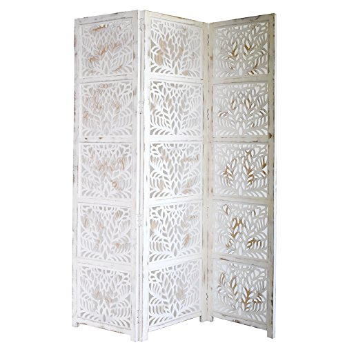Home & More 10323G05 Fern 3 Panel Wood Screen, Antique White