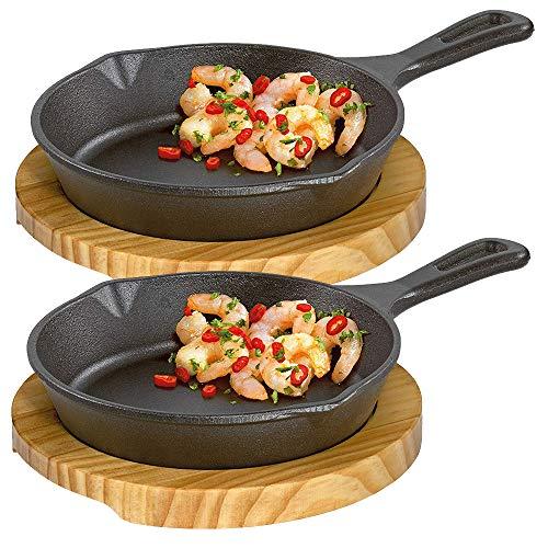 Culinaris Küchenprofi - Gusseisen BBQ Grillpfanne Servierpfanne mit Holzbrett (Servierpfanne rund, 2 Stück)