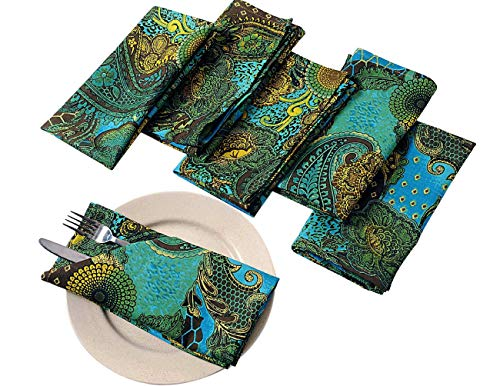 Cotton Napkins Set of 6; Colorful Green Yellow Blue Floral Print; Table Linens Spring Decorations