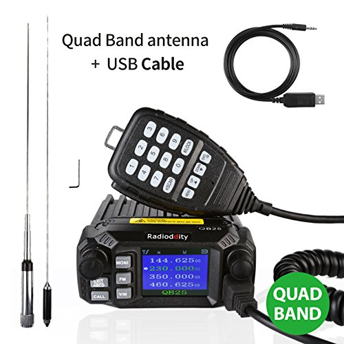Radioddity QB25 Pro Quad Band Quad-Standby Mobile Ham Amateur Radio Transceiver Car Truck Vehicle Radio, VHF UHF 25W with Cable + 50W High Gain Quad Band Antenna