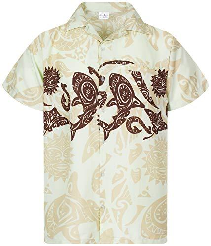 King Kameha Funky Hawaiihemd, Kurzarm, Maori Chest New, Beige, XXL