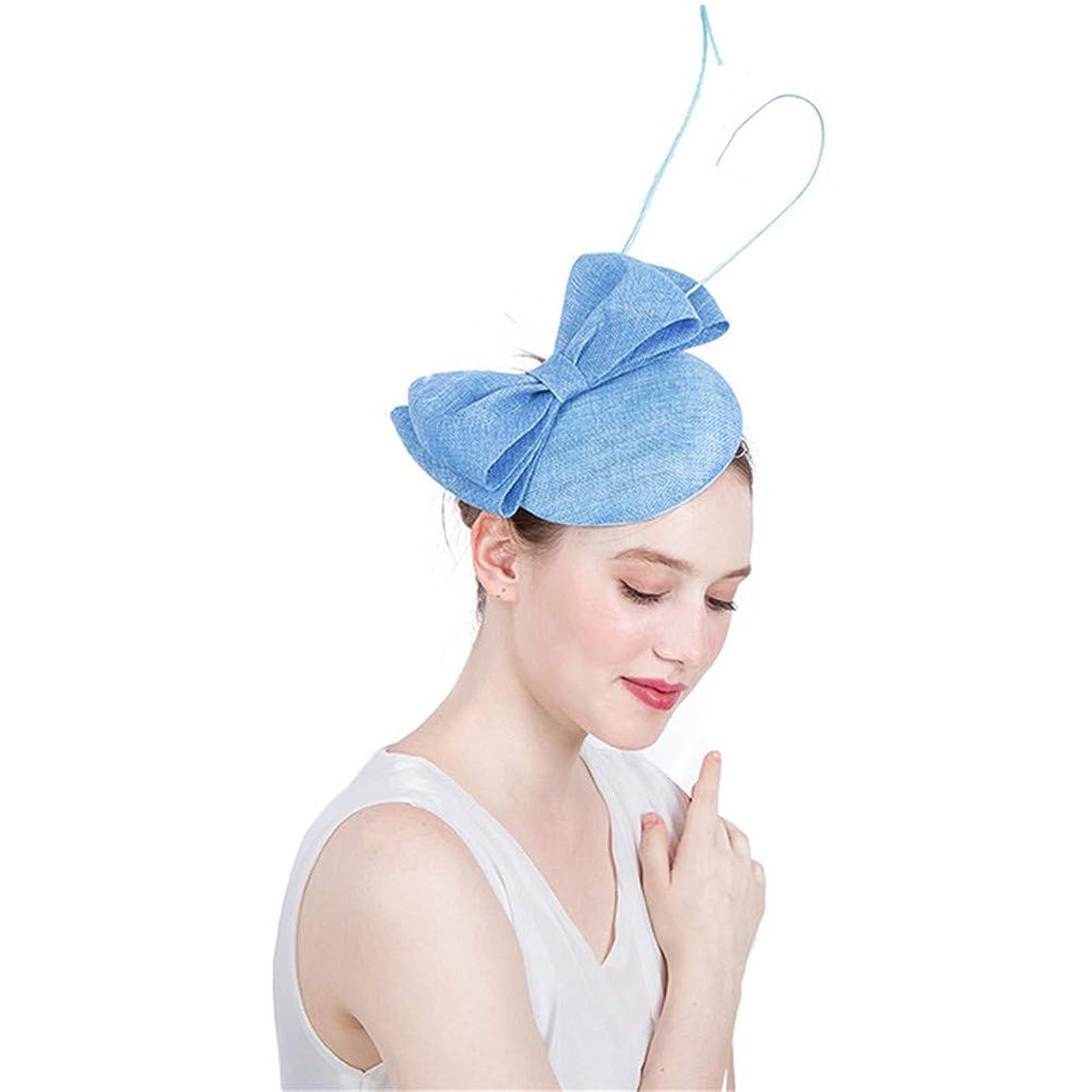 失速エジプト人上流の女性の魅力的な帽子 女性のエレガントなSinamay魅惑的な帽子ブライダル羽ヘアクリップアクセサリーカクテルロイヤルアスコット (色 : 黄)