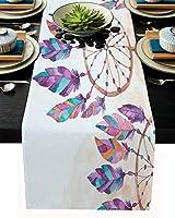 テーブルランナー 羽 夢獲られる カラー 民族風 インデイ 紫 テーブルクロス お食事マット プレースマット おしゃれ インテリア 食卓飾り 滑り止め 欧風 無地 おもてなし パーティー ホームデコレーション 33x229cm