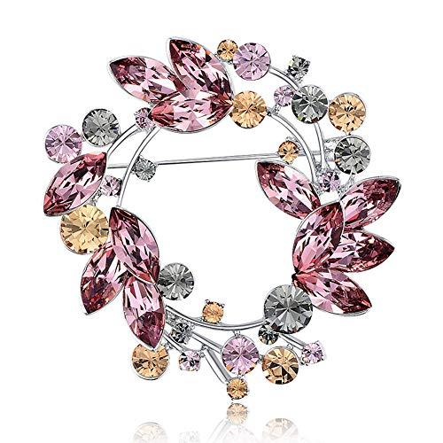 Sxmy Broche coreano de alta gama, joyería de cristal austriaco, broche de flores, chaqueta de mujer, alfiler de cuello, accesorios de pin, rosa