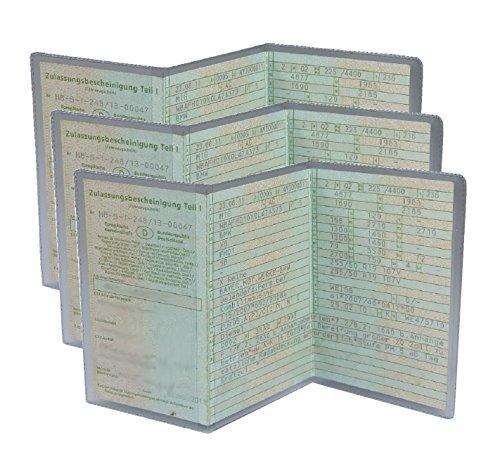 L&P A250-3 3 Stück KFZ Fahrzeugschein Schutzhülle 3 teilig Fahrzeug Schein Etui KFZ Hülle Schutzfolie aus PVC Motorrad Krad transparent (3)