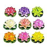 QWEA Flores Artificiales Flor de Loto Flotante Impermeable para Bodas Decoración de acuarios Paquete de Colores Surtidos (tamaño: 18 cm) (Color: Dorado)